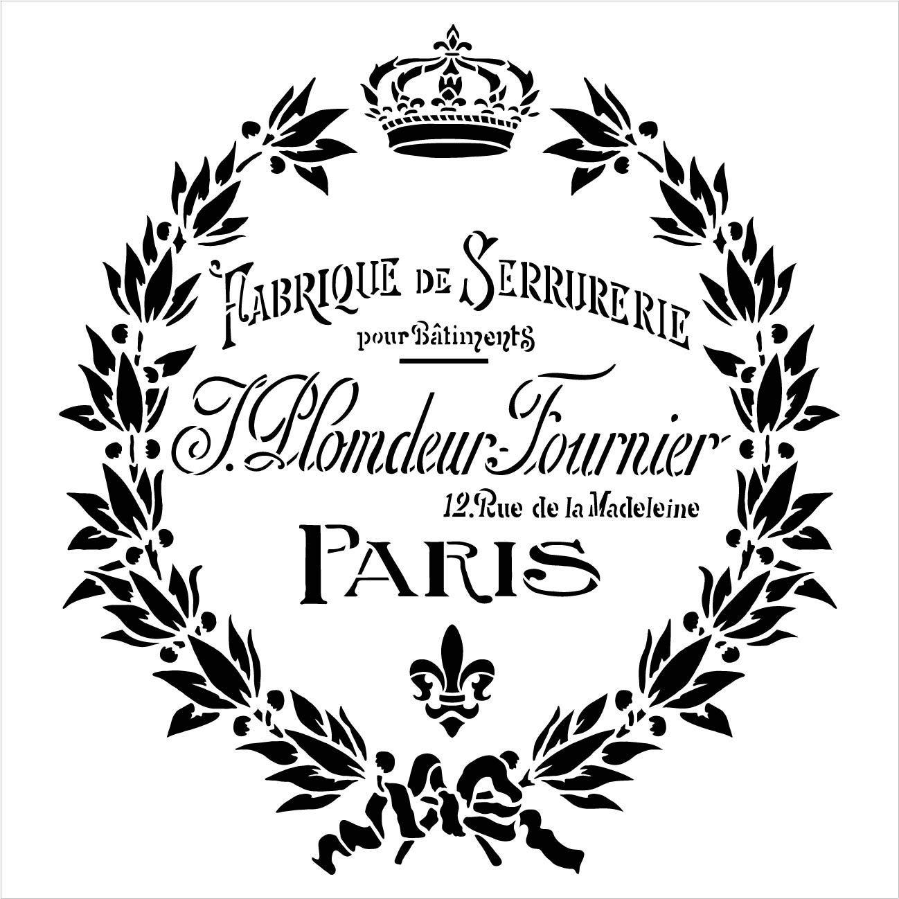 Vintage Paris Fleur de Lis Wreath Stencil with Crown by StudioR12 | DIY Old French Ephemera Home Decor & Furniture | Antique Laurel | Paint Wood Signs | Mylar Template | Select Size