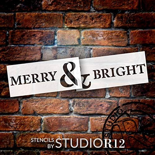 Merry & Bright Jumbo 2-Part Stencil by StudioR12 | DIY Christmas Quote Home Decor | Winter Word Art | Craft & Paint Oversize Holiday Wood Signs | Reusable Mylar Template | Extra Large | 54 x 12.6 inch