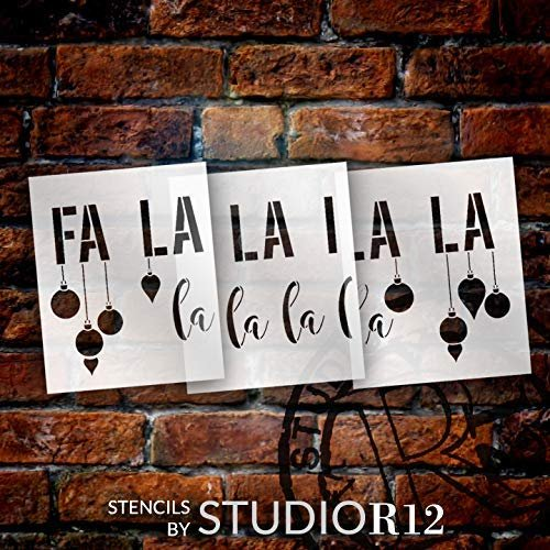 Fa La La La Jumbo 3-Part Stencil with Ornaments by StudioR12   DIY Christmas Song Lyric Home Decor   Script Holiday Word Art   Paint Oversize Wood Signs   Mylar Template   Extra Large   48 x 22 inch