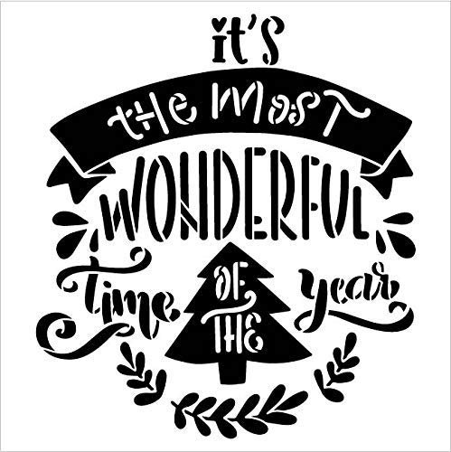 Most Wonderful Time of The Year 2-Part Stencil with Christmas Tree by StudioR12   DIY Embellished Holiday Home Decor   Winter Song Lyric Art   Paint Wood Signs   Mylar Template   Size (9 x 9 inch)
