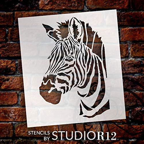 Zebra Portrait Stencil by StudioR12   Zoo Animals   Craft Educational Play Room DIY Creativity Fun Kids Gift   Family School Nursery Home Decor   Reusable Mylar Template   Paint Wood Sign