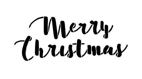 Merry Christmas Stencil by StudioR12 | Reusable Mylar Template | Use to Paint Wood Signs - Pallets - Pillows - Walls - DIY Holiday Decor - Select Size