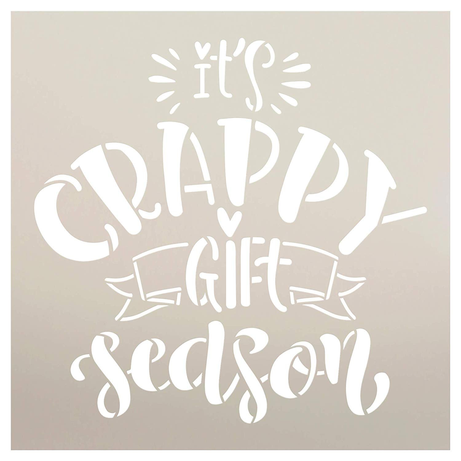 Crappy Gift Season Stencil by StudioR12 | DIY Fun Christmas Humor Home Decor | Embellished Holiday Script Word Art | Craft & Paint Wood Signs | Reusable Mylar Template | Select Size