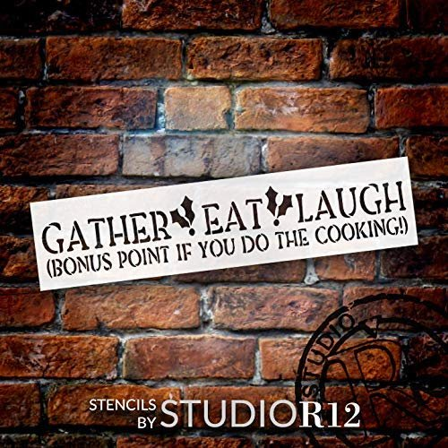 Gather Eat Laugh Stencil with Holly by StudioR12   DIY Christmas Kitchen Home Decor   Fun Country Holiday Word Art   Craft & Paint Wood Signs   Reusable Mylar Template   Size