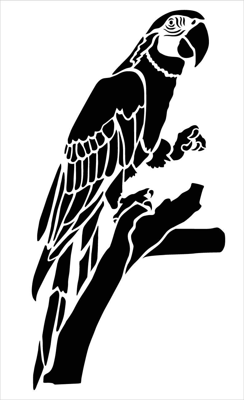 Parrot Stencil by StudioR12 | Zoo Animals | DIY Creativity Fun Kids Gift | Family Nursery Home Decor | Craft Educational Jungle Play Room | Reusable Mylar Template | Paint Wood Sign
