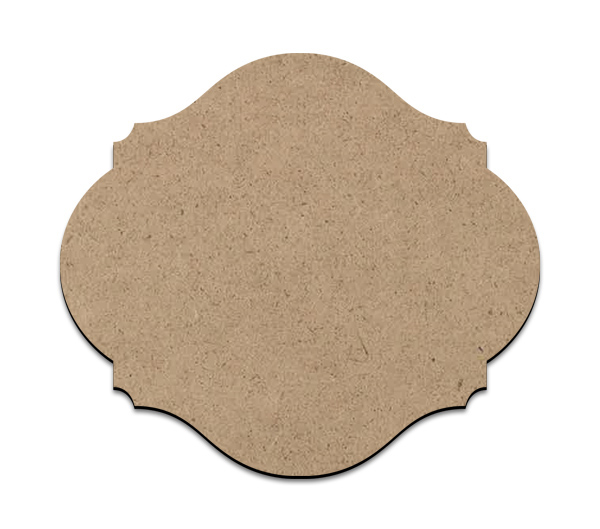 """Small Scalloped Plaque   Wood Surface #10   Size 9"""" x 10.5"""""""