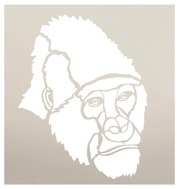 Gorilla Portrait Stencil by StudioR12 | Zoo Animals | Family School Nursery Home Decor | DIY Creativity Fun Kids Gift Craft Educational Play Room | Reusable Mylar Template Paint Wood Sign