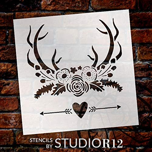 Deer Antlers Flowers & Arrows Stencil by StudioR12 | Rustic Heart Garden Gift | DIY Rose She Shed Home Decor | Craft Nature Hunting Farmhouse | Reusable Mylar Template | Paint Wood Sign
