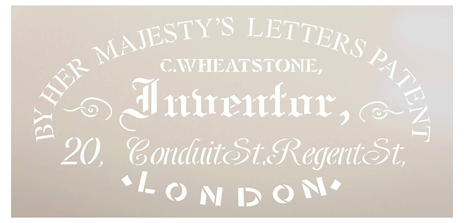 Inventor Patent Stencil by StudioR12 | DIY Vintage Victorian Ephemera Home Decor & Furniture | Antique Old London Word Art | Craft & Paint Wood Signs | Mylar Template | Select Size