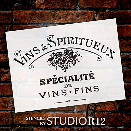 Vintage French Fine Wine Stencil with Grapes by StudioR12 | DIY Old French Ephemera Home Decor & Furniture | Vins Fins Kitchen & Bar Word Art | Paint Wood Signs | Mylar Template | Size (15 x 11 inch)