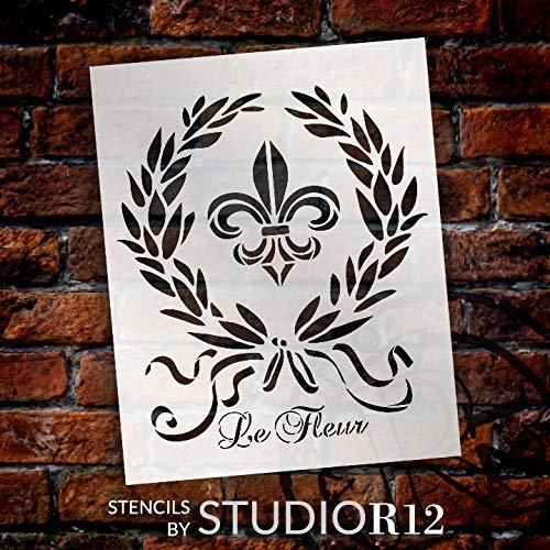 French Le Fleur de Lis Stencil by StudioR12   DIY Old Ephemera Home Decor & Furniture   Vintage Laurel Wreath Art   Craft & Paint Antique Wood Signs   Reusable Mylar Template   Size (20 x 16 inch)