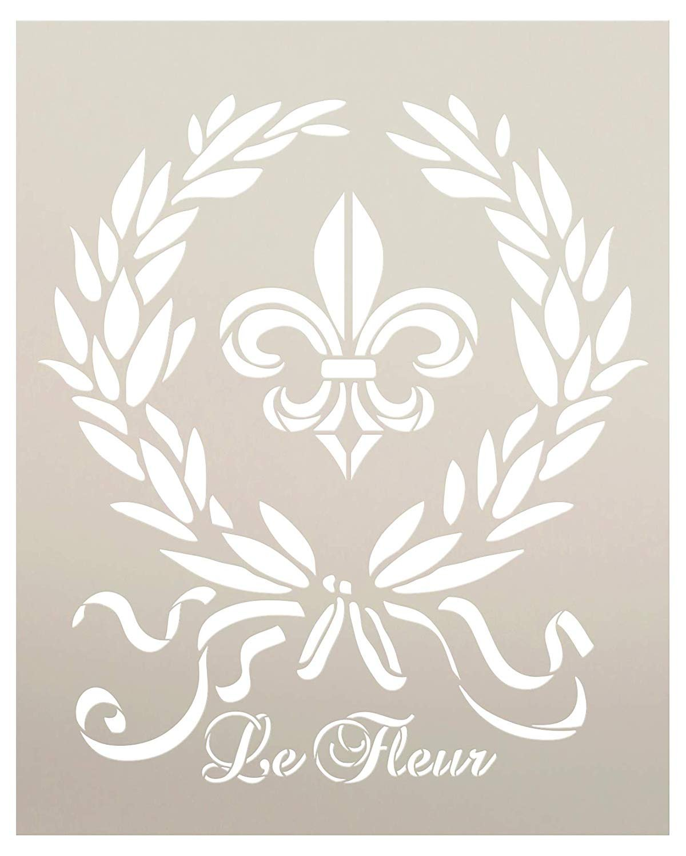 French Le Fleur de Lis Stencil by StudioR12 | DIY Old Ephemera Home Decor & Furniture | Vintage Laurel Wreath Art | Craft & Paint Antique Wood Signs | Reusable Mylar Template | Size (20 x 16 inch)