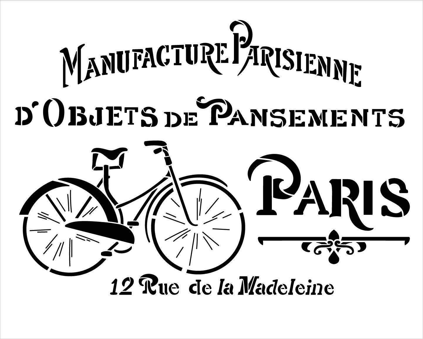 French Vintage Paris Bicycle Stencil by StudioR12 | DIY Old Ephemera Home Decor & Furniture | Antique Bike Word Art | Craft & Paint Farmhouse Wood Signs | Reusable Mylar Template | Size (20 x 16 inch)