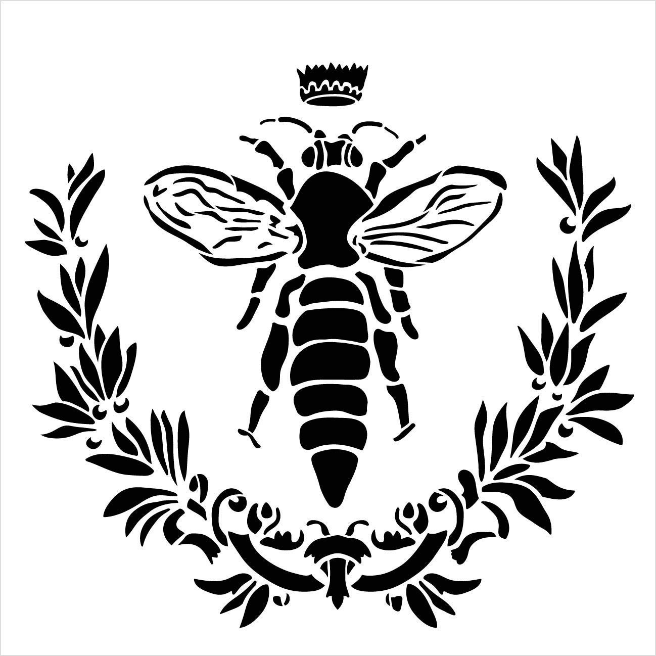 Bella Vintage Bee Stencil with Laurels & Crown by StudioR12 | DIY French Country Ephemera Home Decor & Furniture | Rustic Farmhouse | Paint Wood Signs | Reusable Template | Select Size