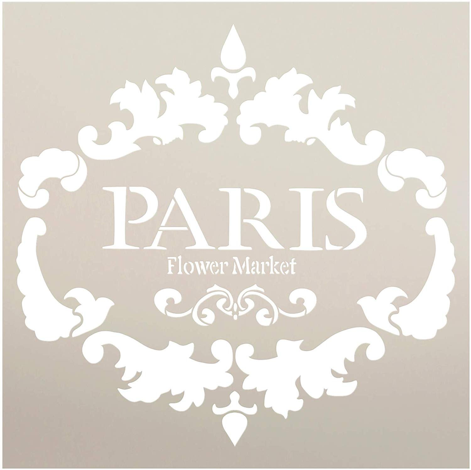 Paris Flower Market Stencil by StudioR12 | DIY French Country Ephemera Home Decor & Furniture | Rustic Farmhouse Word Art | Craft & Paint Wood Signs | Reusable Template | Select Size