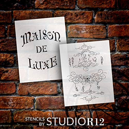 Antique Embellished French Luxury 2-Part Stencil by StudioR12 | DIY Old Ephemera Home Decor & Furniture | Vintage Word Art | Craft & Paint Farmhouse Wood Signs | Mylar Template | Size 20 x 16 inch