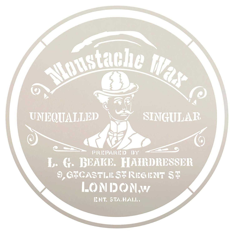 Moustache Wax Round Stencil by StudioR12 | DIY Old Victorian Barber Shop Ephemera Home Decor & Furniture | Vintage London | Paint Antique Wood Signs | Reusable Template | Select Size