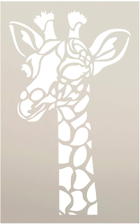 Giraffe Portrait Stencil by StudioR12 | Zoo Animals | DIY Creativity Fun Kids Gift | Family School Nursery Play Room Craft Cute School Home Decor | Reusable Mylar Template Paint Wood Sign
