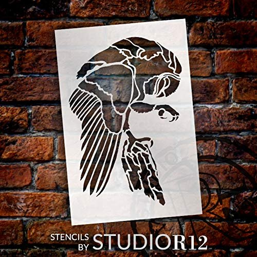 Owl Stencil by StudioR12 | Animals Nature | Craft DIY Bird Kids Family Gift | Simple School Home Decor | Activity Nursery Play Room Porch | Reusable Mylar Template | Paint Wood Sign