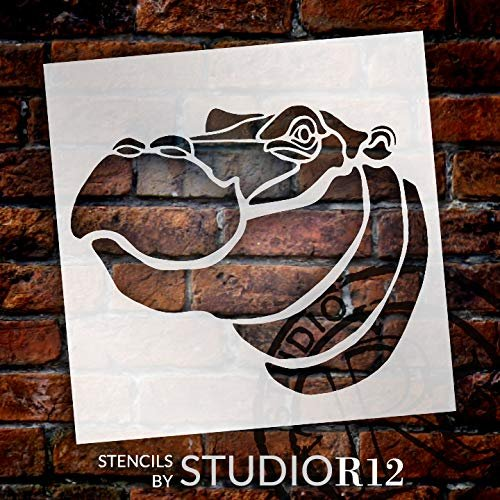 Hippo Portrait Stencil by StudioR12 | Zoo Animals | Craft School Home Decor | Nature DIY Kids Family Gift | Activity Nursery Play Room Wall Decor | Reusable Mylar Template Paint Wood Sign
