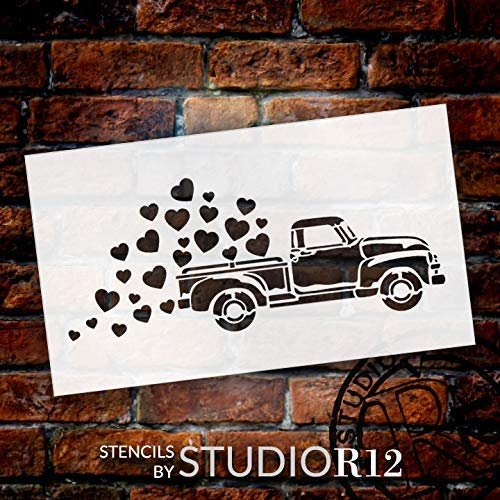 Old Truck Valentine Stencil - Hearts by StudioR12 | Reusable Mylar Template | Paint Wood Sign | Rustic Farmhouse Holiday | Craft DIY Vintage Home Decor | Select Size Small - Large
