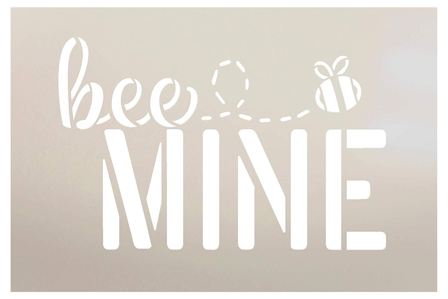 Bee Mine Stencil with Bumblebee by StudioR12 | Cursive Script | Reusable Mylar Template | Paint Wood Sign | Craft Funny Valentine Gift | DIY Holiday Home Decor | Select Size