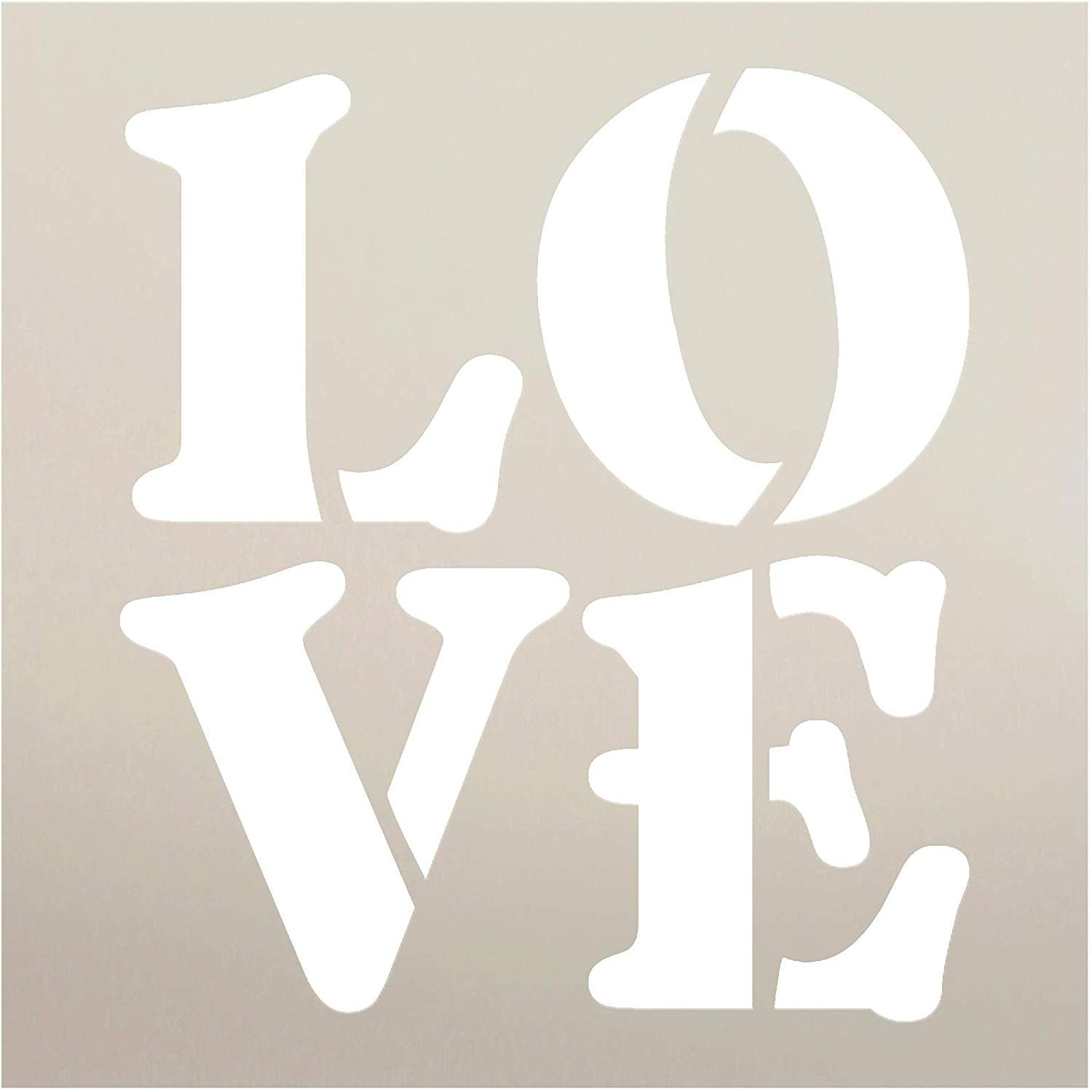 L-O-V-E Stencil by StudioR12 | DIY Simple Valentine's Day Home Decor | Vintage Farmhouse Love Letter Word Art | Craft & Paint Wood Signs | Reusable Mylar Template | Select Size