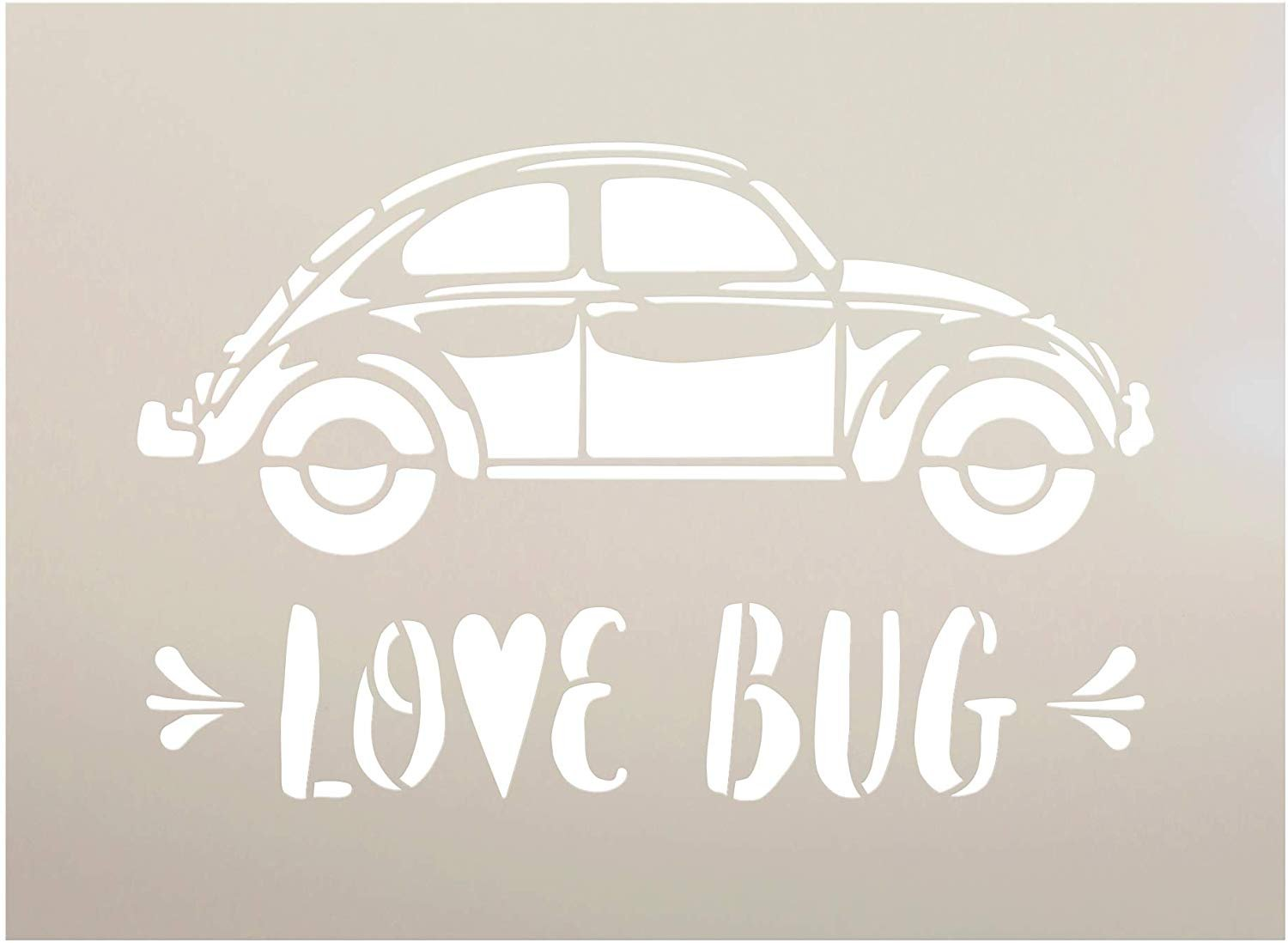 Love Bug Side View Stencil with Heart by StudioR12   DIY Vintage Beetle Style Valentine's Day Home Decor   Craft & Paint Wood Signs   Reusable Mylar Template   Select Size