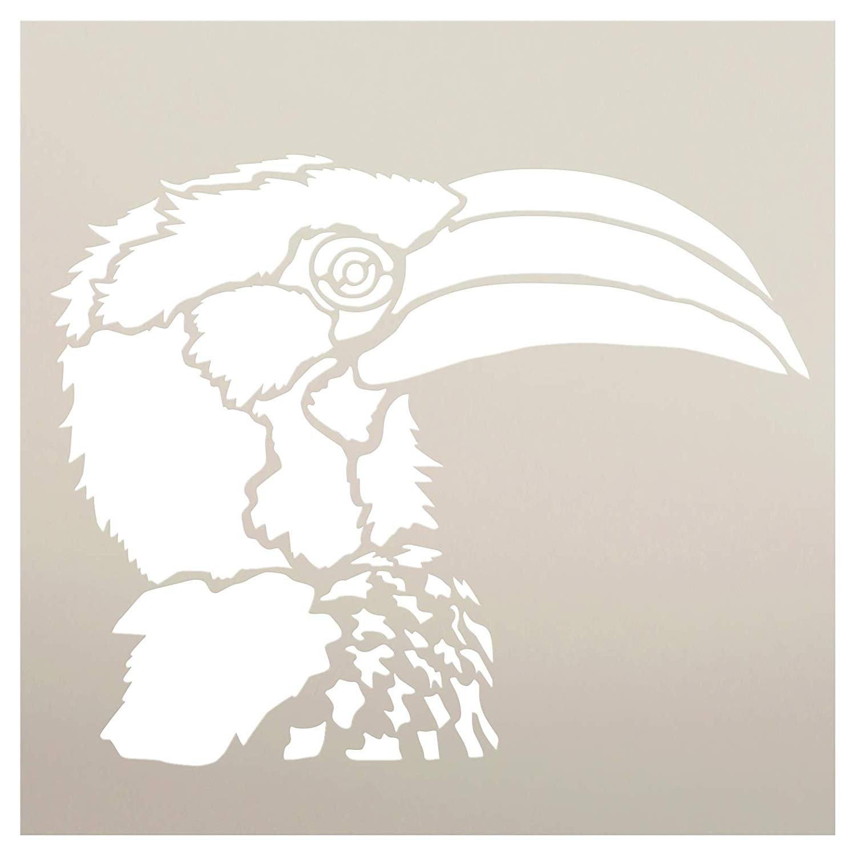 "Hornbill Portrait Stencil by StudioR12 | Zoo Animals | Nature DIY Bird Kids Family Gift | Craft School Home Decor | Activity Nursery Play Room | Reusable Mylar Template | Paint Wood Sign (15"" x 15"")"