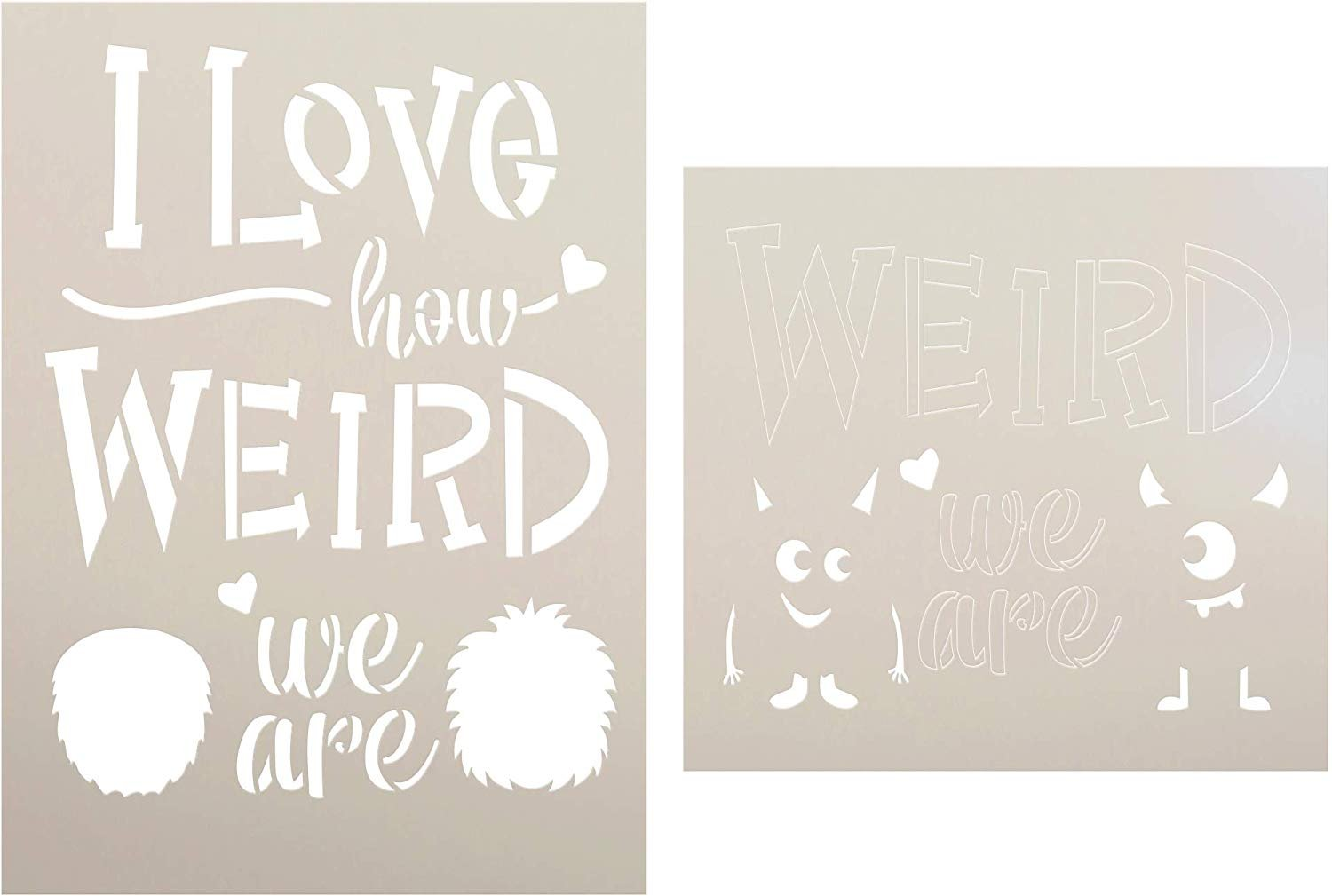 Valentine's Day Stencil Set by StudioR12 | DIY Fun Heart & Love Simple Home Decor | Bee Mine | Mustache You to Be Mine | Craft & Paint Farmhouse Wood Signs | Reusable Mylar Template |