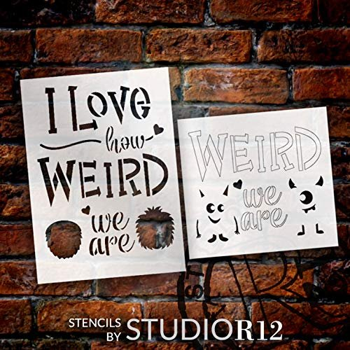 Love How Weird We are 2-Part Stencil by StudioR12 | Cursive Script - Monsters | Reusable Mylar Template | Paint Wood Sign | Craft Fun Valentine Gift | DIY Home Decor | Select Size