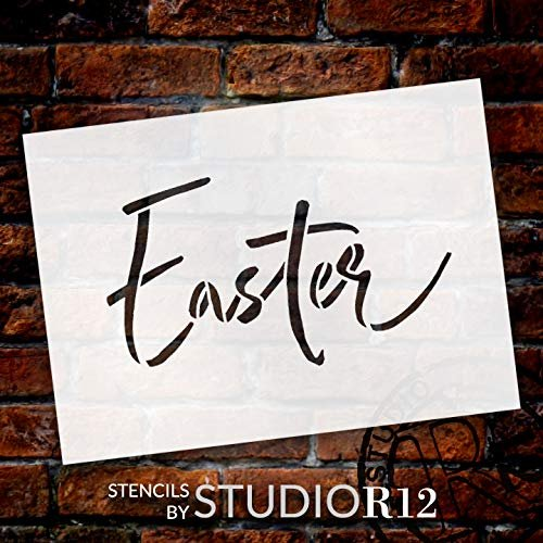 Easter Script Stencil by StudioR12 | DIY Christian Spring Home Decor | Rustic Handwritten Word Art | Craft & Paint Farmhouse Wood Signs | Reusable Mylar Template | Select Size