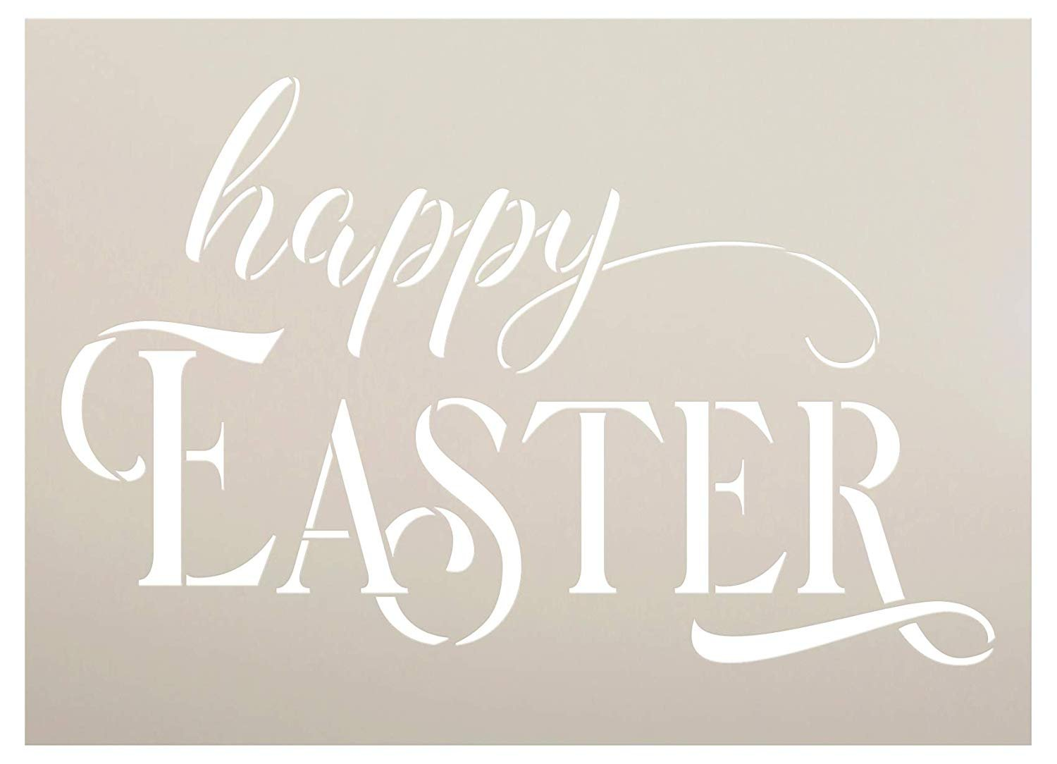 Happy Easter Script Stencil by StudioR12 | DIY Christian Spring Home Decor | Rustic Cursive Word Art | Craft & Paint Farmhouse Wood Signs | Reusable Mylar Template | Select Size