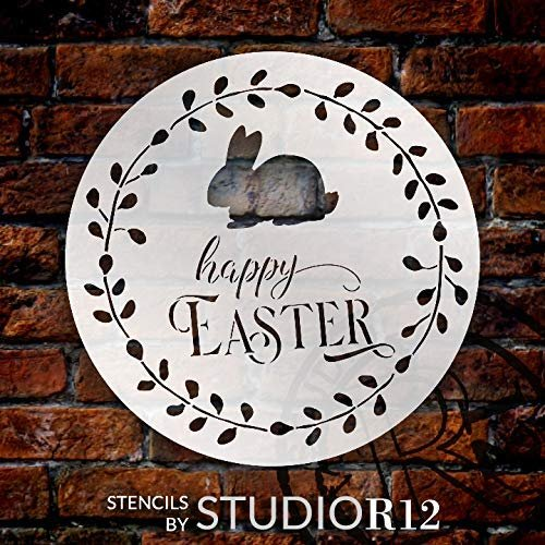 Happy Easter Round Stencil with Bunny by StudioR12 | DIY Spring Wreath Home Decor | Cursive Script Word Art | Craft & Paint Farmhouse Wood Signs | Reusable Mylar Template | Select Size