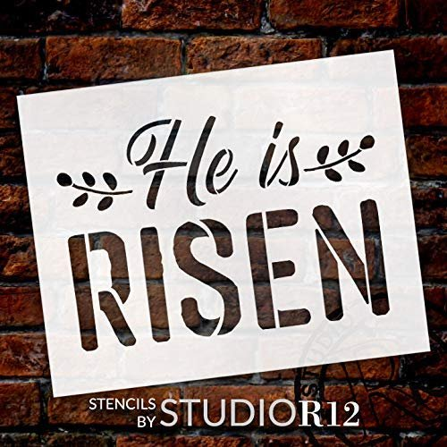 He is Risen Stencil with Leaves by StudioR12 | DIY Christian Spring Home Decor | Rustic Bible Word Art | Craft & Paint Farmhouse Wood Signs | Reusable Mylar Template | Select Size