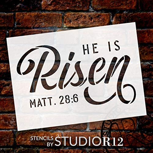 He is Risen Stencil by StudioR12   DIY Christian Spring Home Decor   Rustic Bible Verse Word Art   Matthew 28:6   Craft & Paint Farmhouse Wood Signs   Mylar Template   Select Size