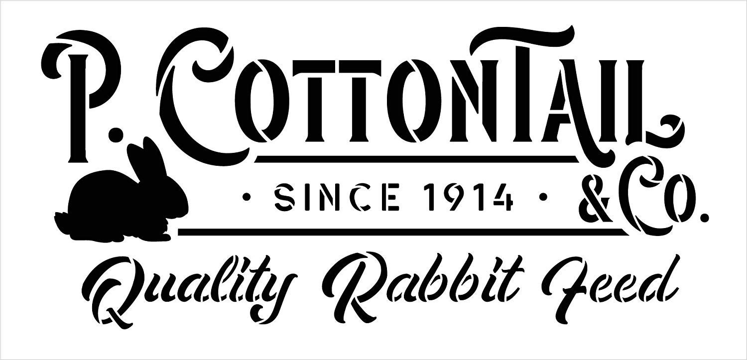 P. Cottontail Rabbit Co. Stencil by StudioR12   DIY Fun Spring Easter Bunny Home Decor   Quality Feed   Craft & Paint Farmhouse Wood Signs   Reusable Mylar Template   Select Size