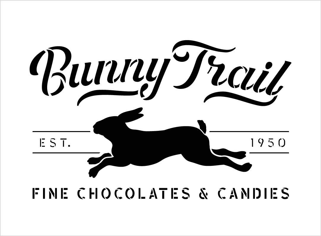 Bunny Trail Fine Chocolates Stencil with Rabbit by StudioR12   DIY Fun Spring Home Decor   Easter Candy Word Art   Craft & Paint Farmhouse Wood Signs   Reusable Mylar Template   Size