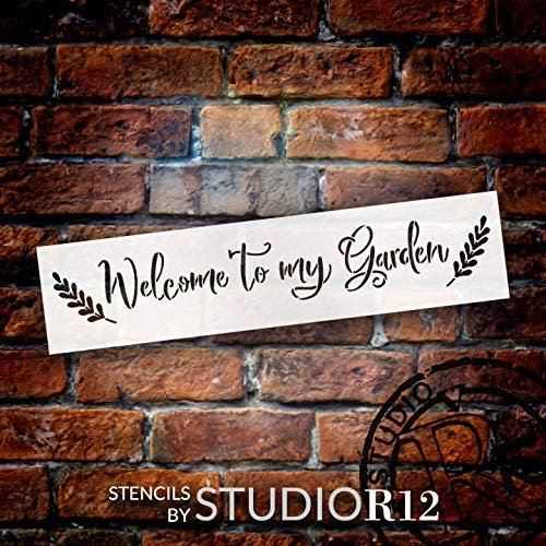 Welcome to My Garden Stencil with Leaves by StudioR12   DIY Outdoor Spring Cursive Script Home Decor   Craft & Paint Farmhouse Wood Signs   Reusable Mylar Template   Select Size
