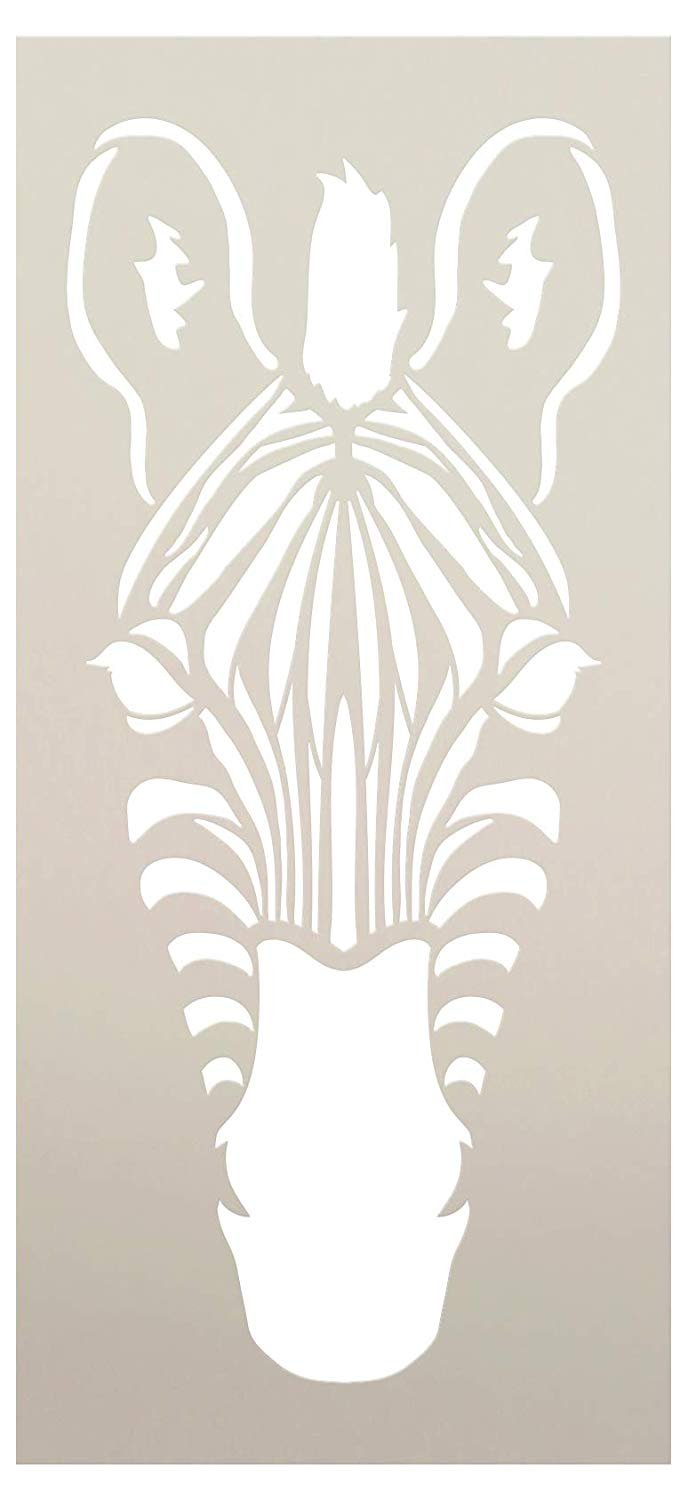 Zebra Portrait Stencil Front View by StudioR12 | DIY Classroom & Kids Room Home Decor Decor | Nursery Zoo Animal | Craft & Paint Wood Signs | Reusable Mylar Template | Select Size
