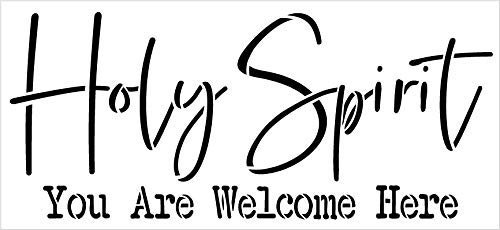 Holy Spirit Welcome Here Stencil by StudioR12 | DIY Rustic Christian Faith Home Decor | Script Word Art | Craft & Paint Farmhouse Wood Signs | Reusable Mylar Template | Select Size