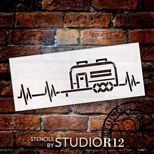 Camper Heartbeat Stencil by StudioR12 | DIY Indoor & Outdoor Home Decor | Nature Camping Lover Pulse Wall Art | Craft & Paint Wood Signs | Reusable Mylar Template | Select Size