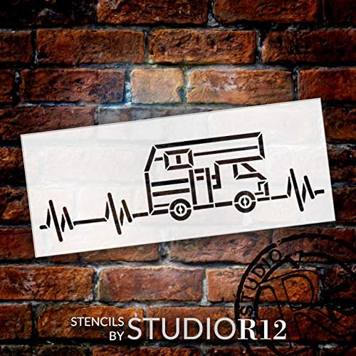 RV Heartbeat Stencil by StudioR12   DIY Indoor & Outdoor Home Decor   Nature Camping Lover Pulse Wall Art   Craft & Paint Wood Signs   Reusable Mylar Template   Select Size
