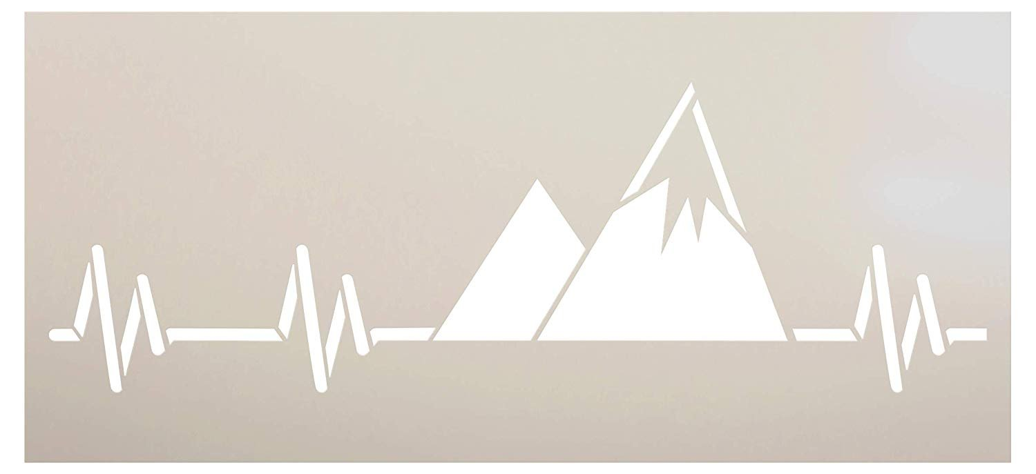 Mountain Heartbeat Stencil by StudioR12 | DIY Indoor & Outdoor Home Decor | Nature Camping Lover Pulse Wall Art | Craft & Paint Wood Signs | Reusable Mylar Template | Select Size