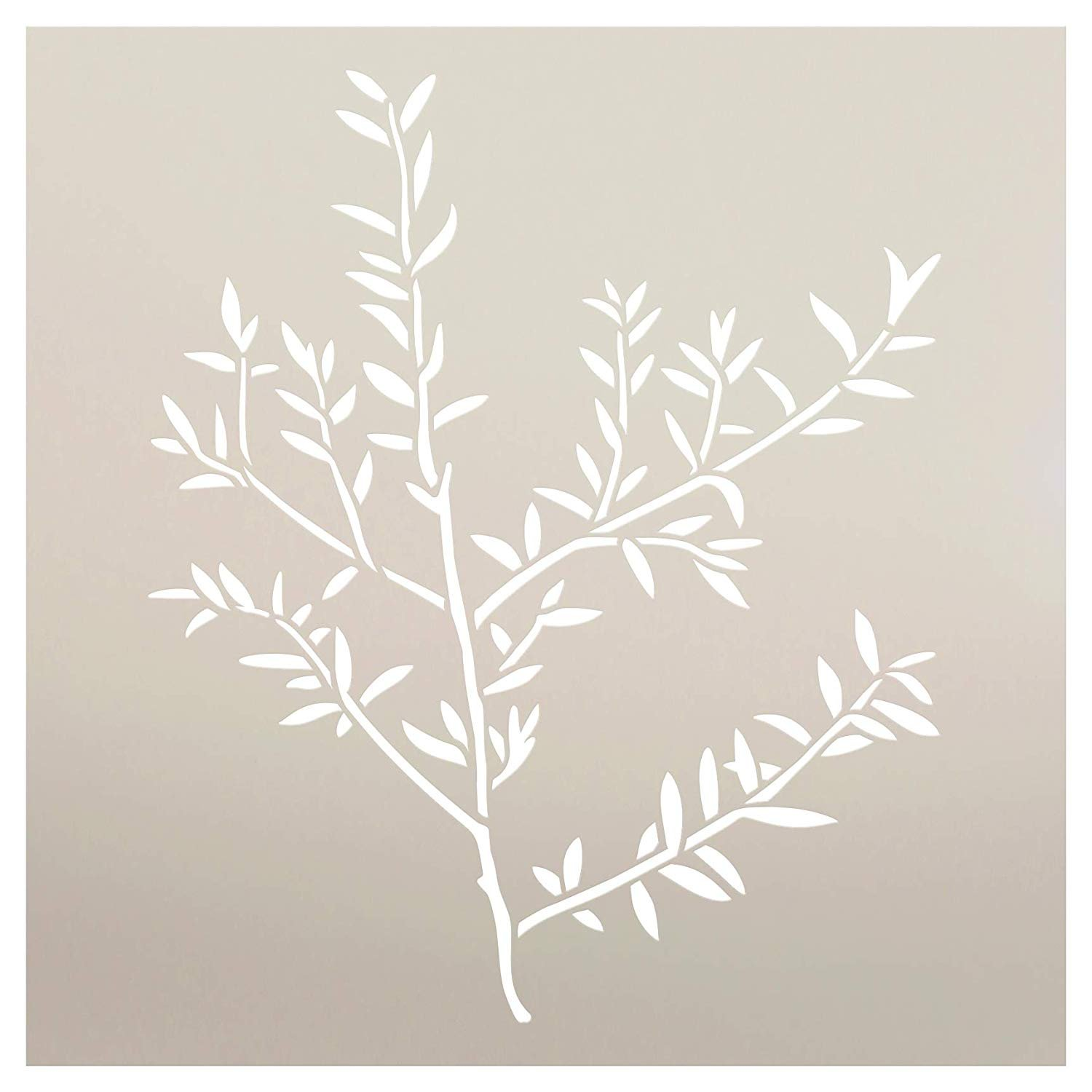 Thin Leaf Sprig Stencil by StudioR12   Reusable Mylar Template   Paint Wood Sign   DIY Rustic Fall Bush Tree Home Decor   Craft Outdoor Nature Gift - Autumn - Spring   Select Size