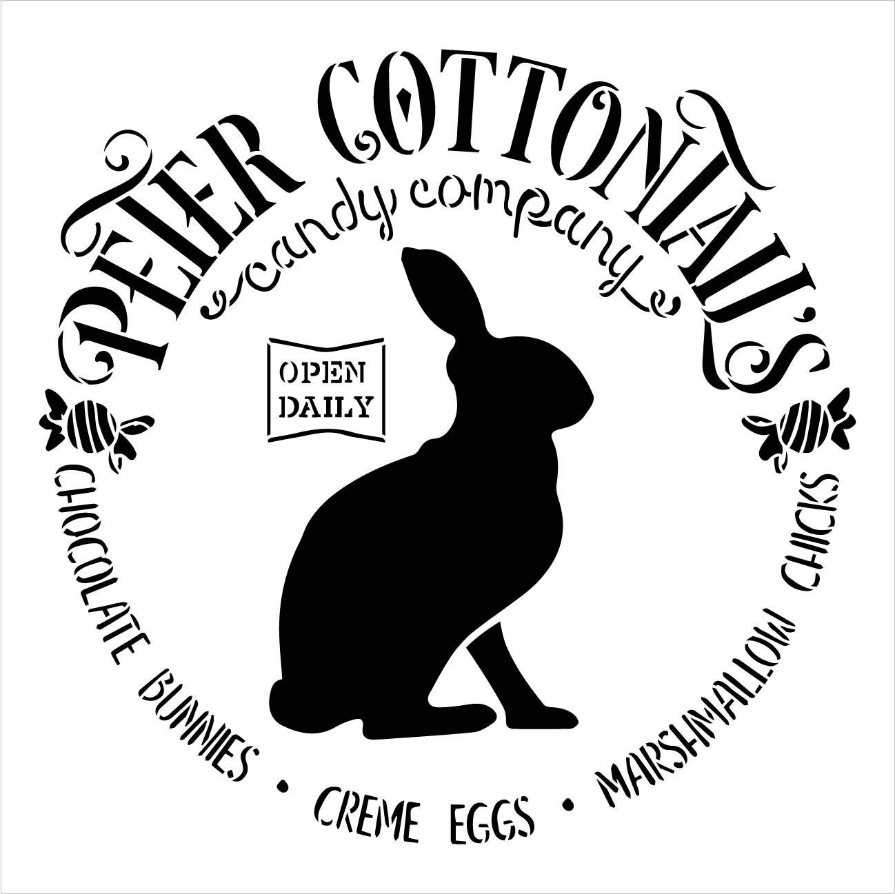Peter Cottontail's Candy Company Stencil with Rabbit by StudioR12 | DIY Spring Easter Candy Home Decor | Craft & Paint Farmhouse Wood Signs | Reusable Mylar Template | Select Size
