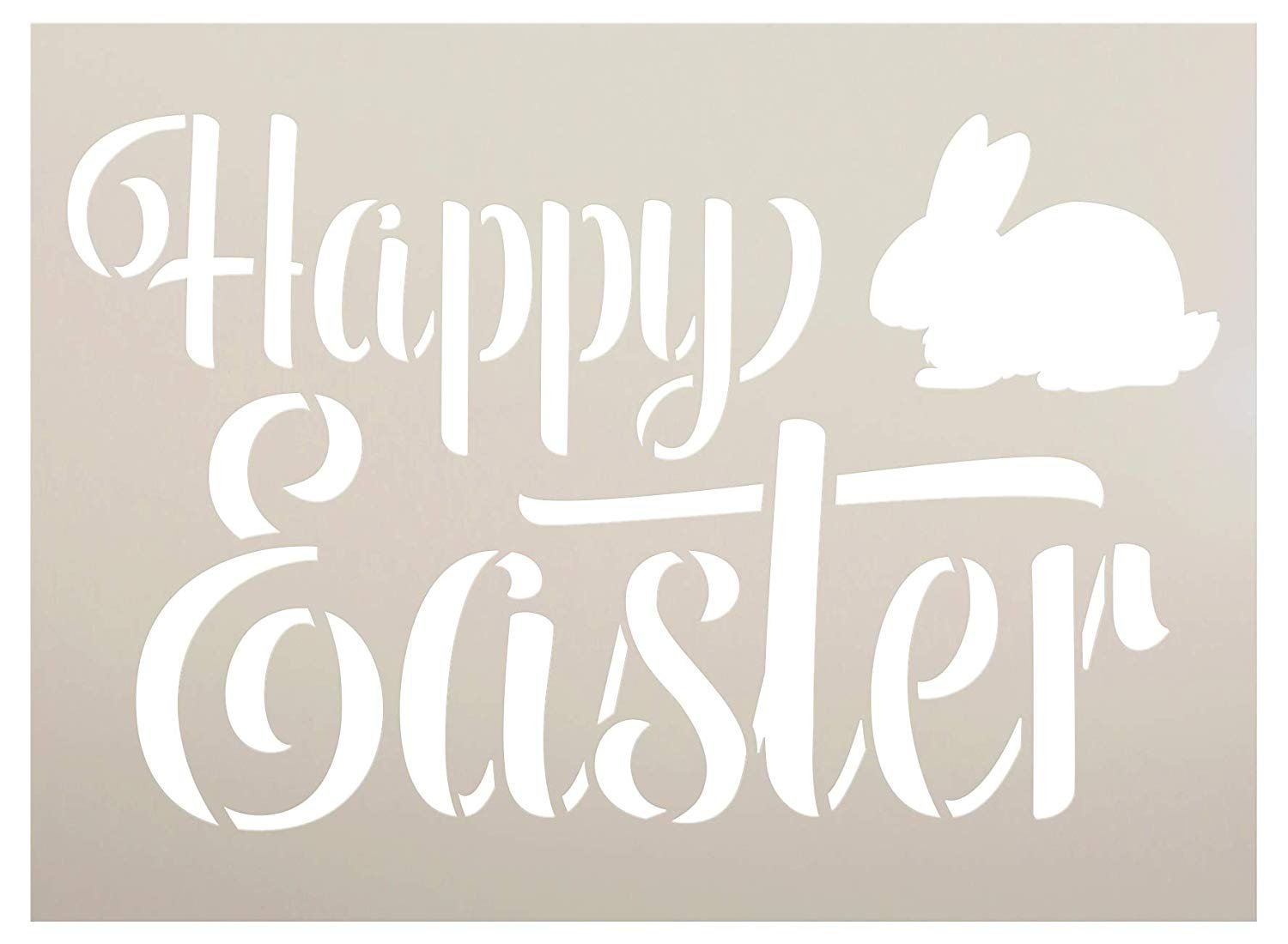 Happy Easter Stencil with Bunny by StudioR12 | DIY Christian Spring Home Decor | Rustic Script Word Art | Craft & Paint Farmhouse Wood Signs | Reusable Mylar Template | Select Size