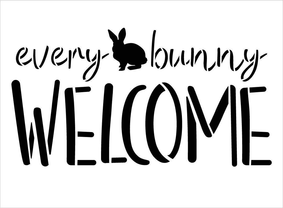 Every Bunny Welcome Stencil by StudioR12   DIY Fun Cursive Spring Home Decor   Easter Script Word Art   Craft & Paint Farmhouse Wood Sign   Reusable Mylar Template   Select Size