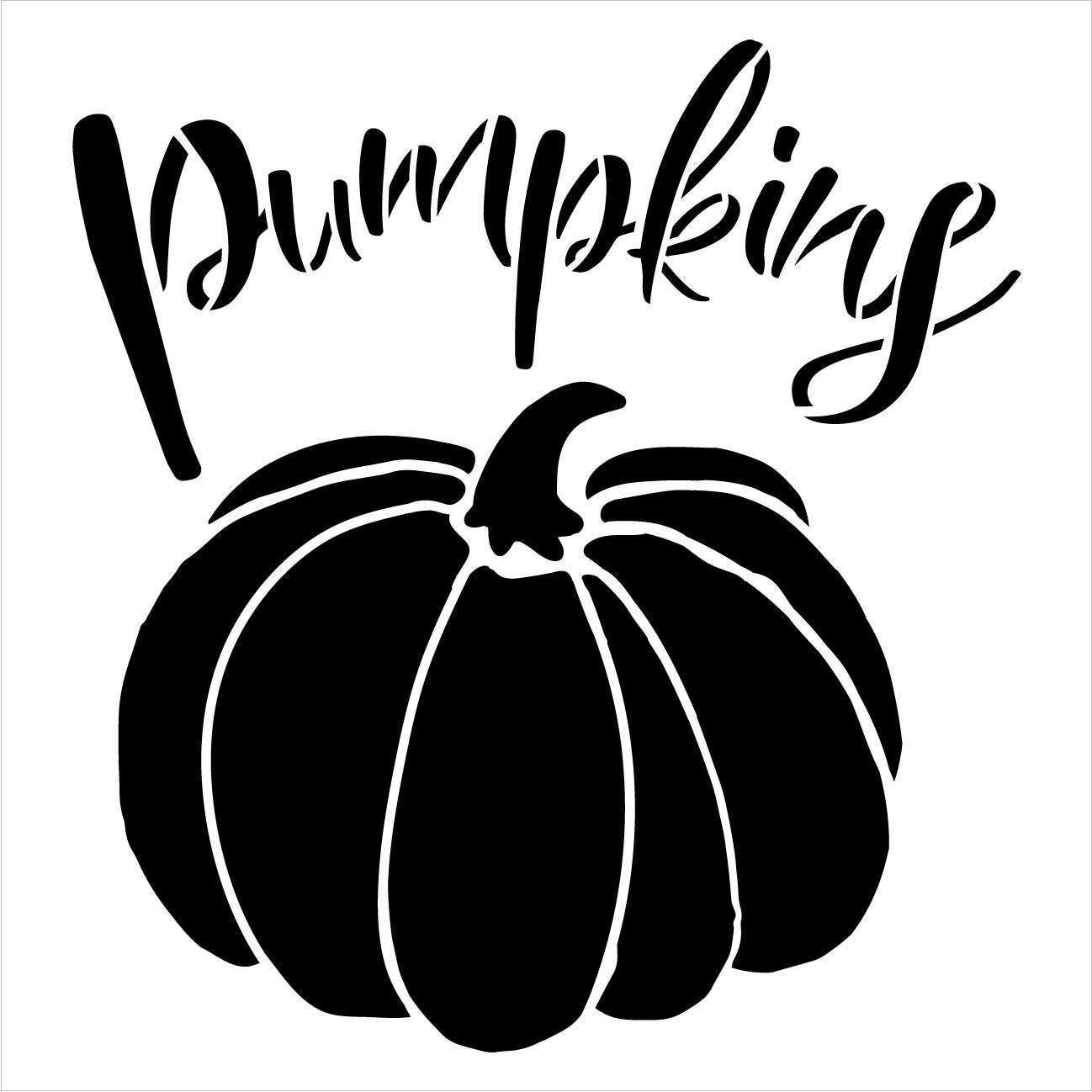 Pumpkins Garden Marker Stencil by StudioR12 | DIY Spring Backyard Outdoor Home Decor | Vegetable Plant Label | Craft & Paint Rustic Wood Signs | Reusable Mylar Template | Select Size