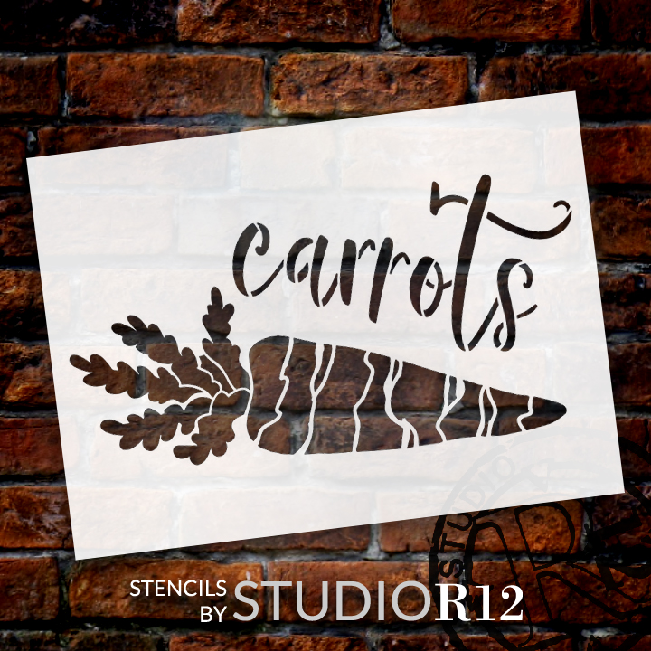 Carrots Garden Marker Stencil by StudioR12 | DIY Spring Backyard Outdoor Home Decor | Vegetable Plant Label | Craft & Paint Wood Signs | Reusable Mylar Template | Select Size
